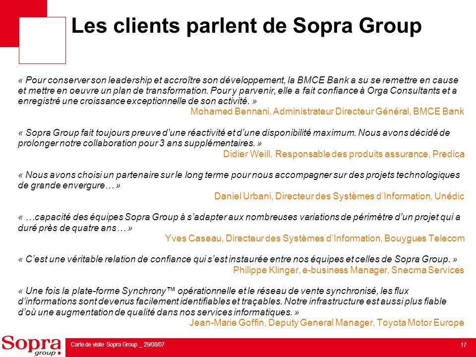 Les clients parlent de Sopra Group