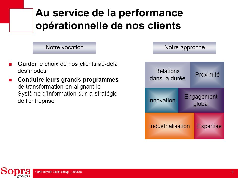 Au service de la performance opérationnelle de nos clients