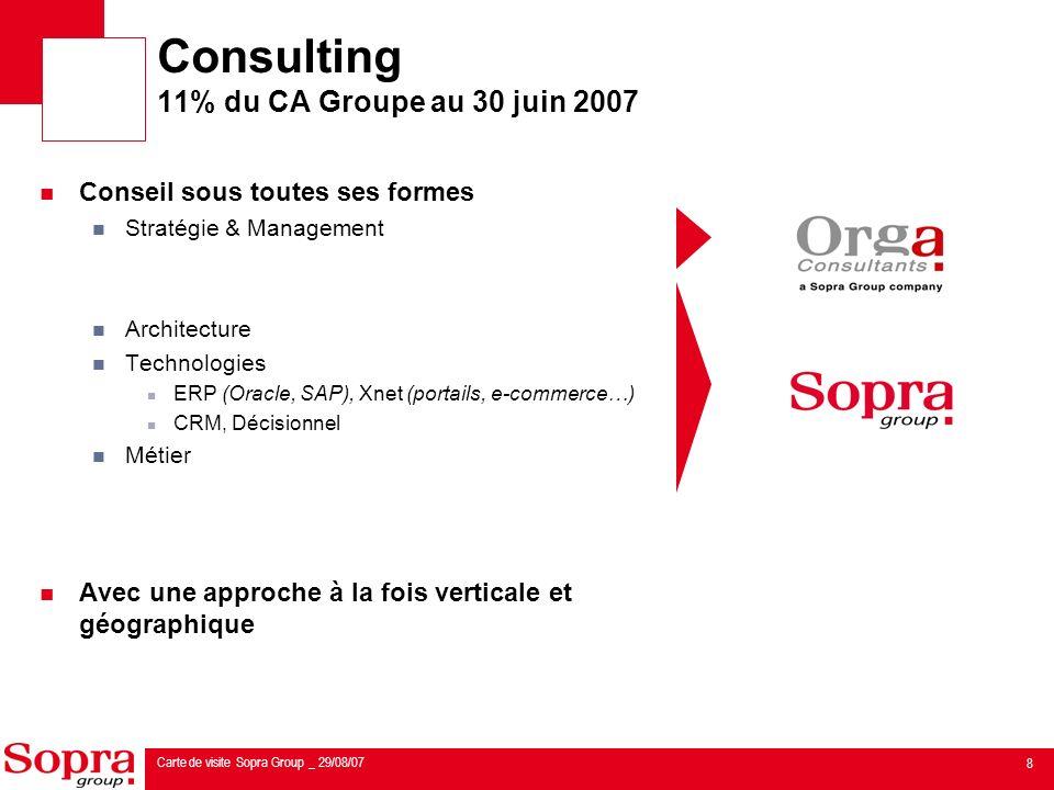 Consulting 11% du CA Groupe au 30 juin 2007