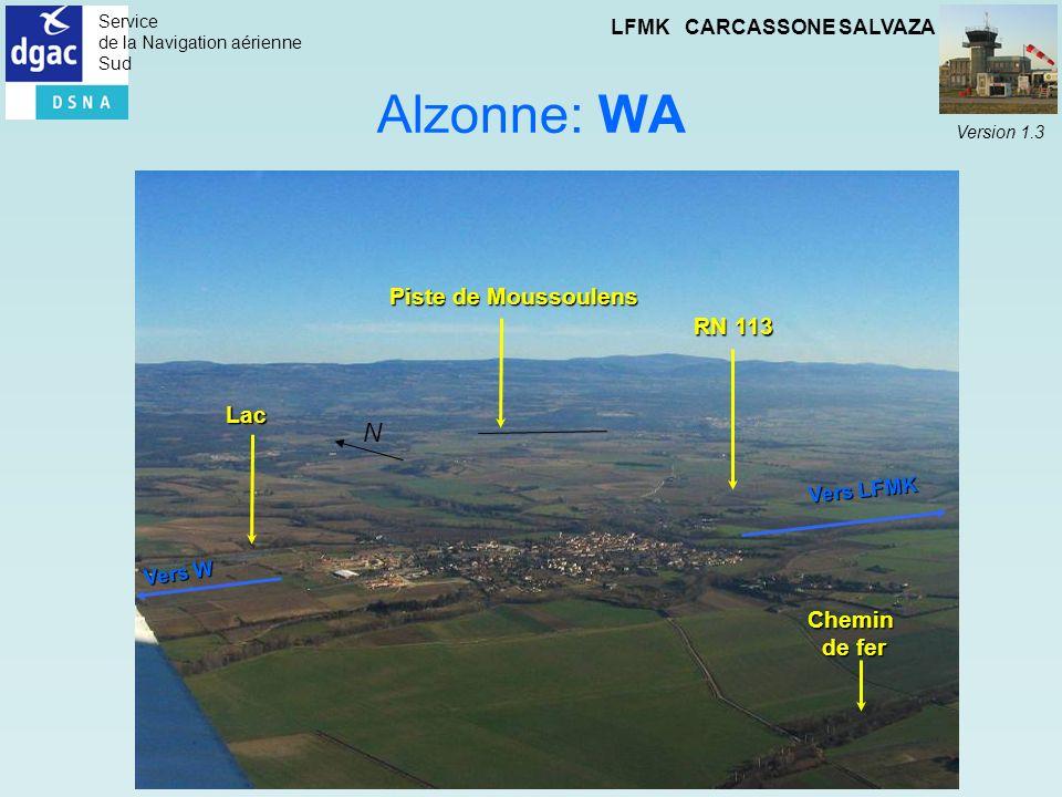 Alzonne: WA N Piste de Moussoulens RN 113 Lac Chemin de fer Vers LFMK