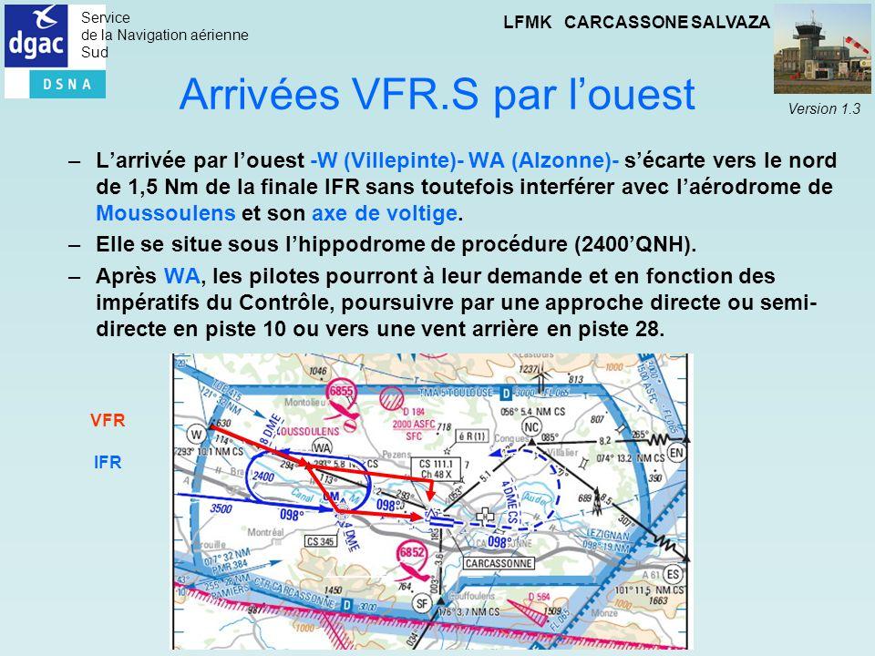 Arrivées VFR.S par l'ouest