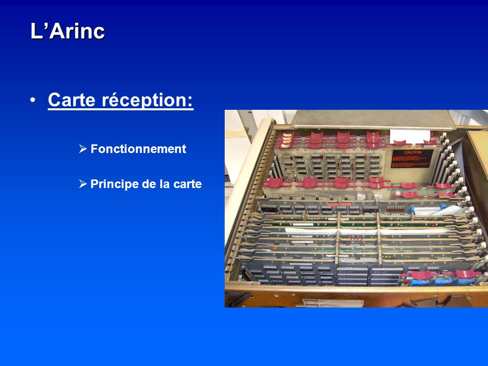 L'Arinc Carte réception: Fonctionnement Principe de la carte