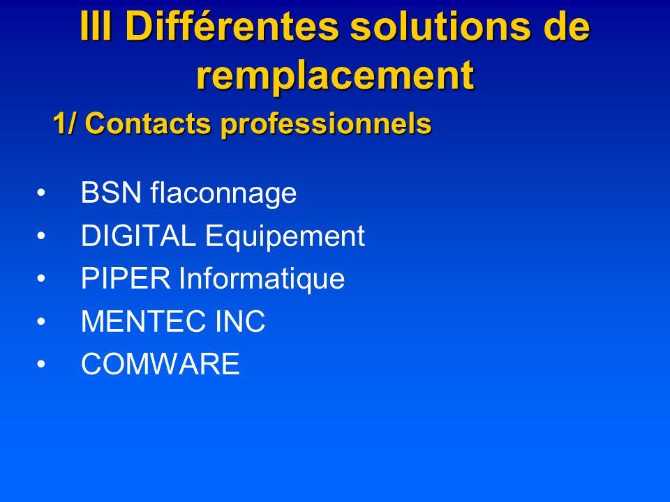 III Différentes solutions de remplacement