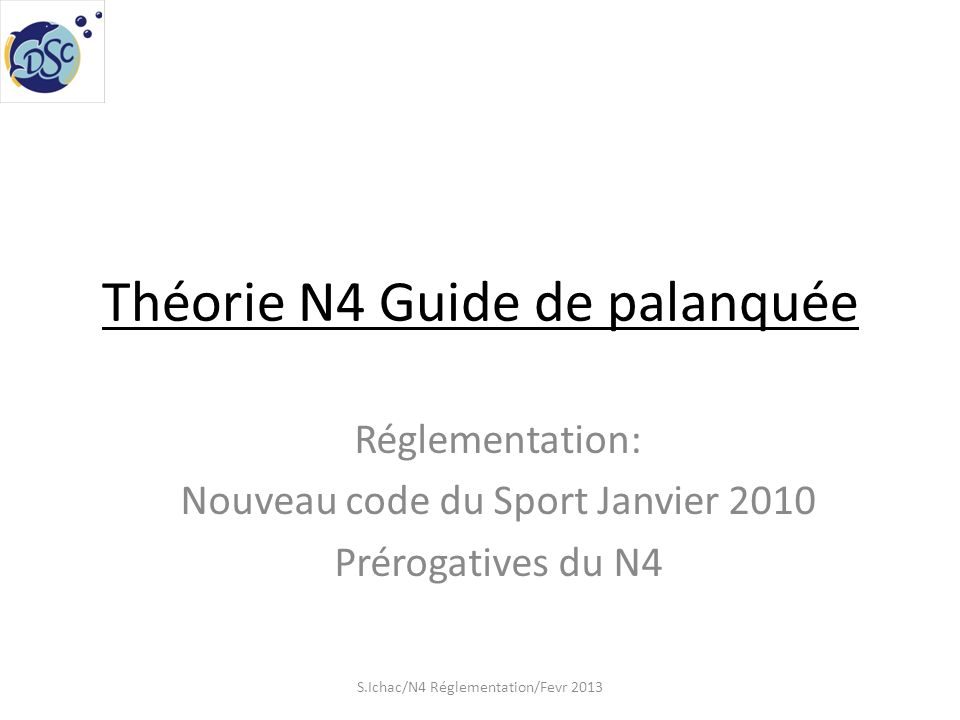 Théorie N4 Guide de palanquée