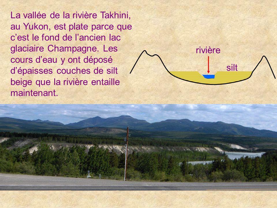 La vallée de la rivière Takhini, au Yukon, est plate parce que c'est le fond de l'ancien lac glaciaire Champagne. Les cours d'eau y ont déposé d'épaisses couches de silt beige que la rivière entaille maintenant.