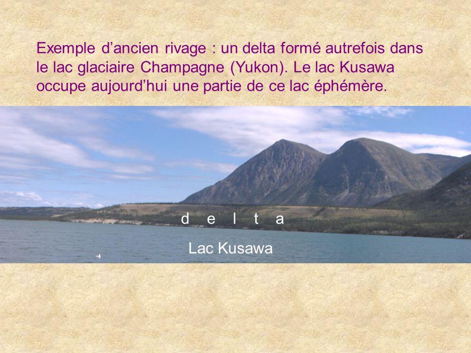 Exemple d'ancien rivage : un delta formé autrefois dans le lac glaciaire Champagne (Yukon). Le lac Kusawa occupe aujourd'hui une partie de ce lac éphémère.