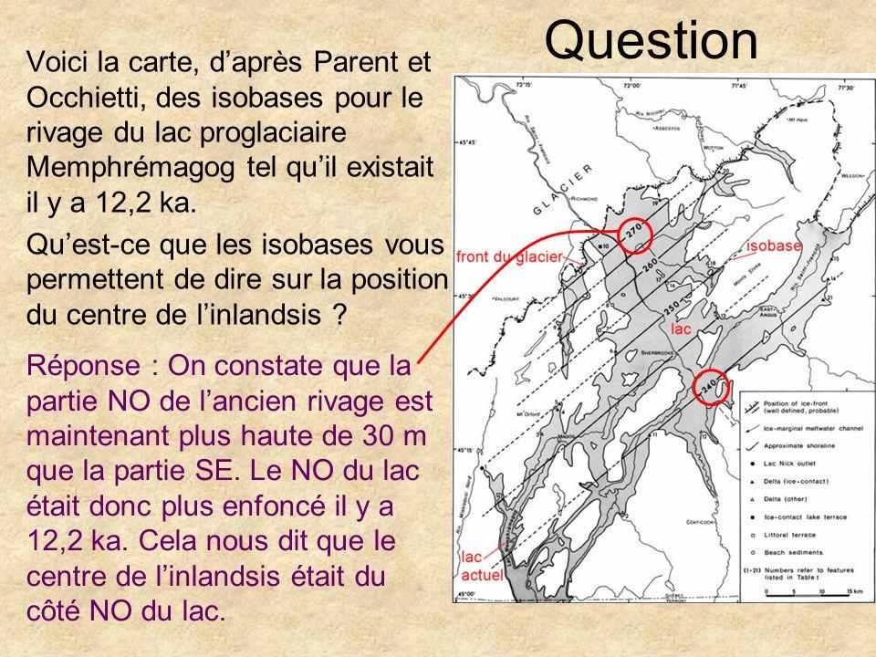 Question Voici la carte, d'après Parent et Occhietti, des isobases pour le rivage du lac proglaciaire Memphrémagog tel qu'il existait il y a 12,2 ka.