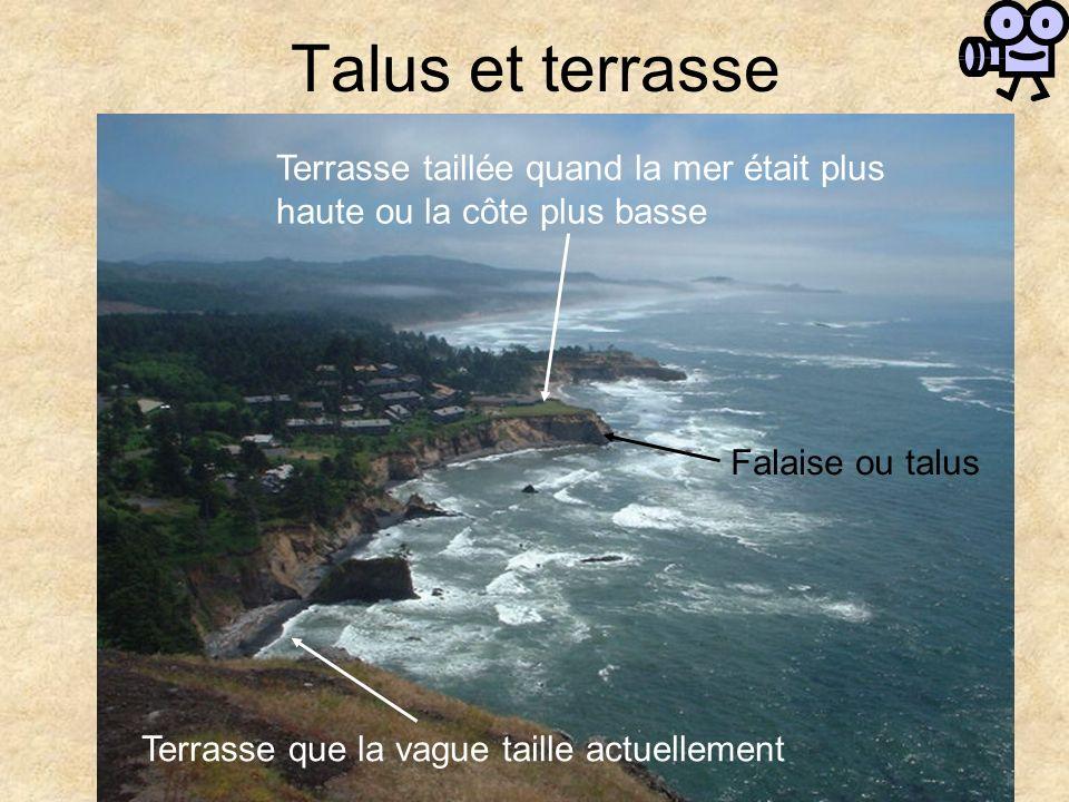 Talus et terrasse Terrasse taillée quand la mer était plus haute ou la côte plus basse. Falaise ou talus.
