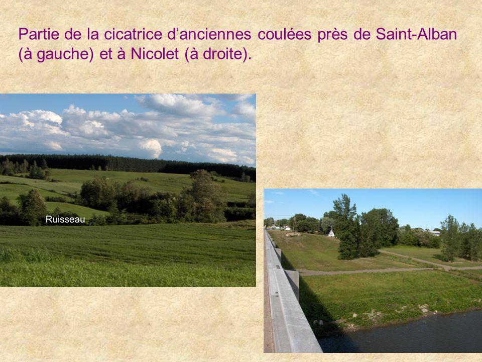 Partie de la cicatrice d'anciennes coulées près de Saint-Alban (à gauche) et à Nicolet (à droite).
