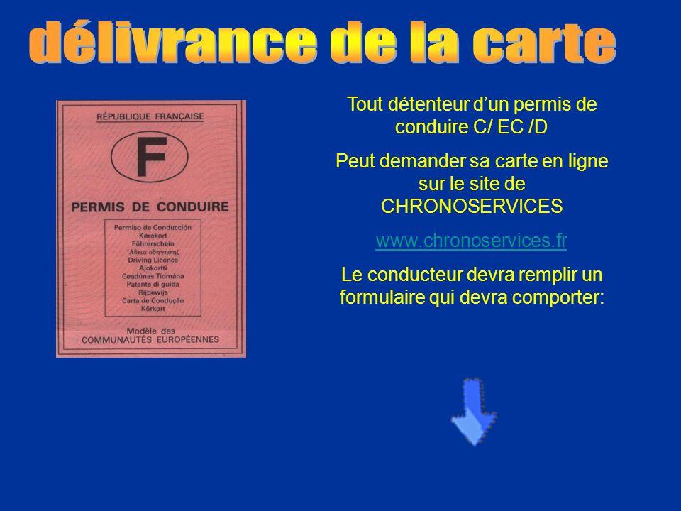 délivrance de la carte Tout détenteur d'un permis de conduire C/ EC /D