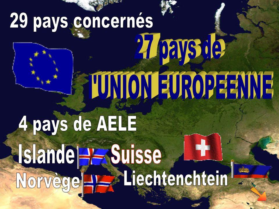 29 pays concernés 27 pays de. l UNION EUROPEENNE. 4 pays de AELE. Islande. Suisse. Liechtenchtein.
