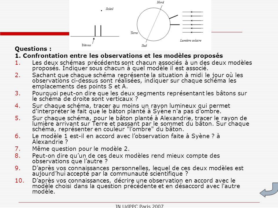 1. Confrontation entre les observations et les modèles proposés