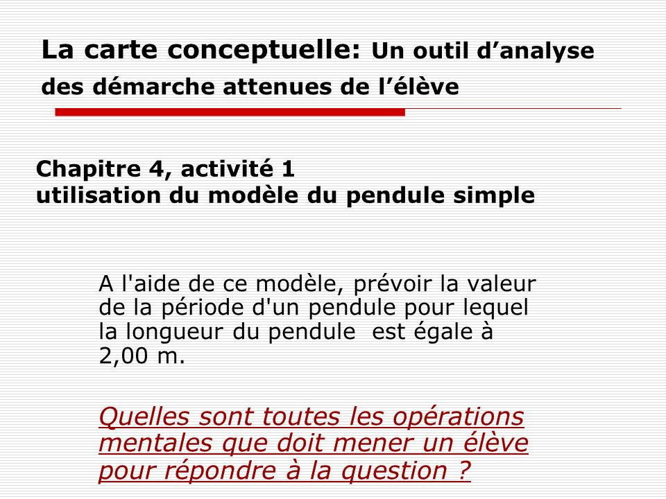 Chapitre 4, activité 1 utilisation du modèle du pendule simple