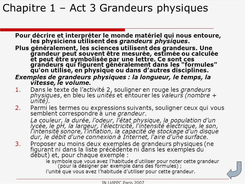 Chapitre 1 – Act 3 Grandeurs physiques