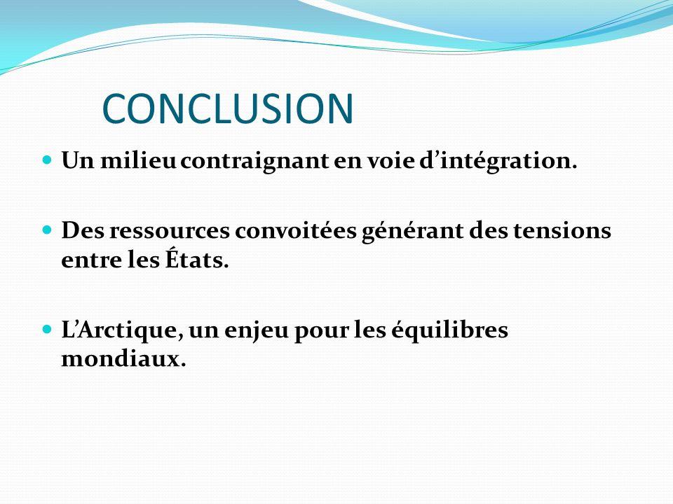 CONCLUSION Un milieu contraignant en voie d'intégration.