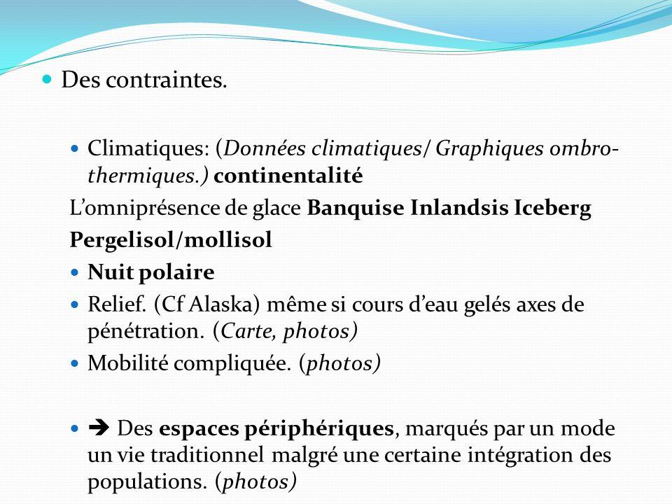 Des contraintes. Climatiques: (Données climatiques/ Graphiques ombro-thermiques.) continentalité. L'omniprésence de glace Banquise Inlandsis Iceberg.