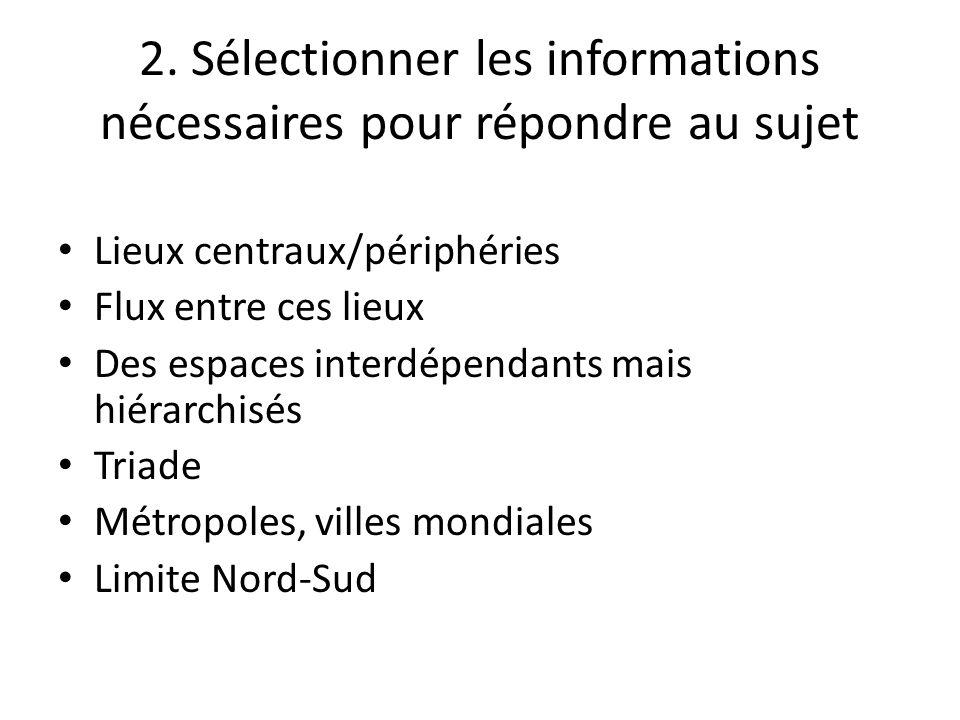 2. Sélectionner les informations nécessaires pour répondre au sujet