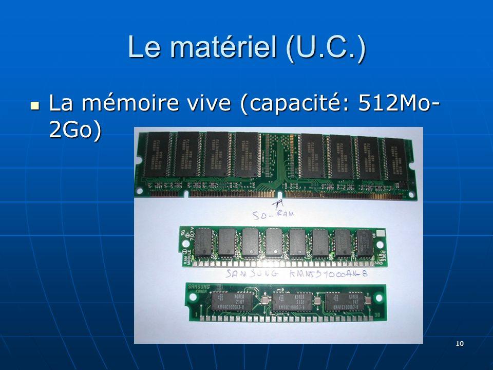 Le matériel (U.C.) La mémoire vive (capacité: 512Mo- 2Go)