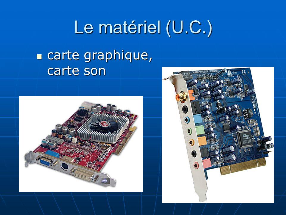 Le matériel (U.C.) carte graphique, carte son