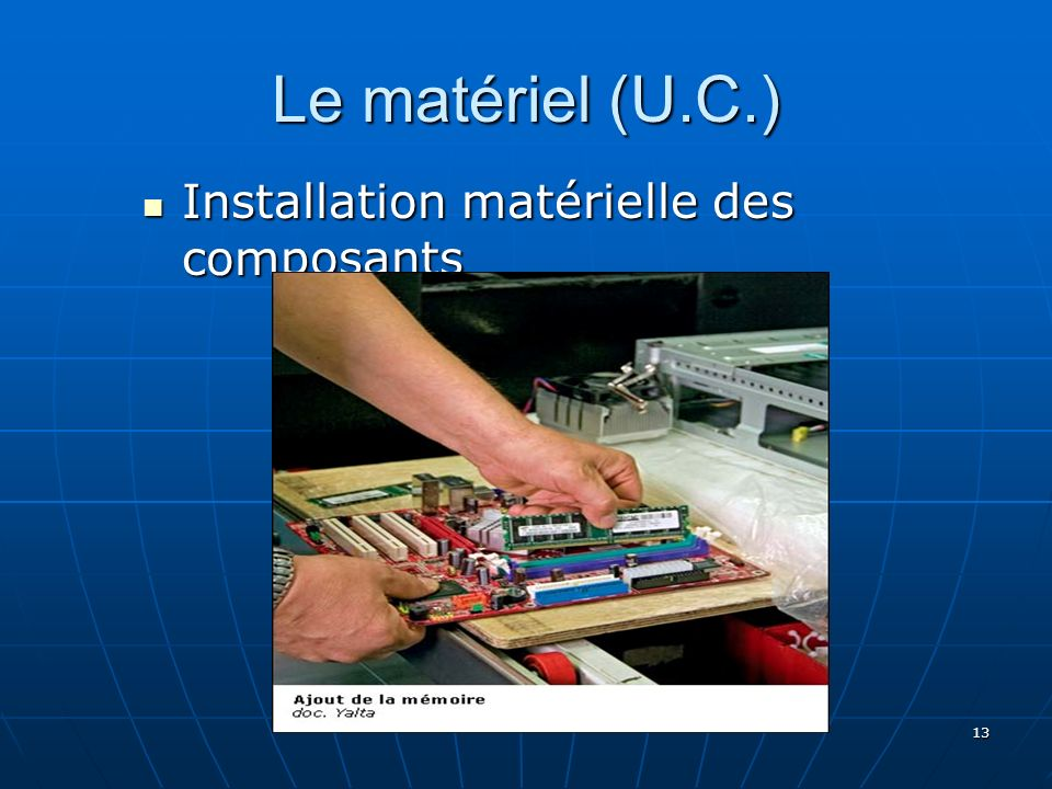 Le matériel (U.C.) Installation matérielle des composants