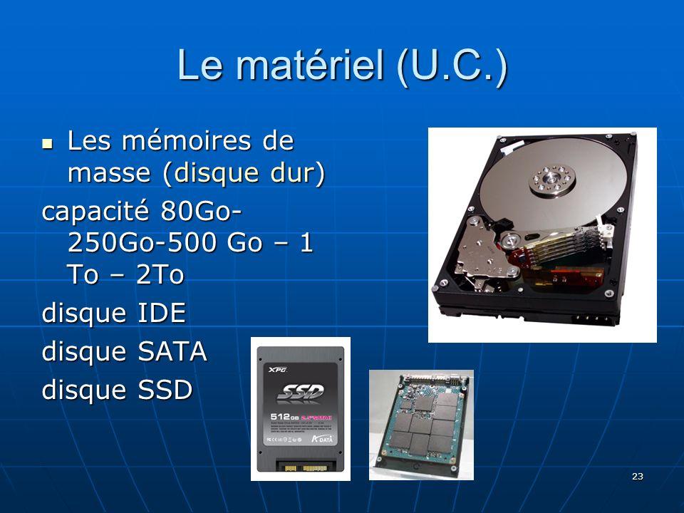 Le matériel (U.C.) Les mémoires de masse (disque dur)