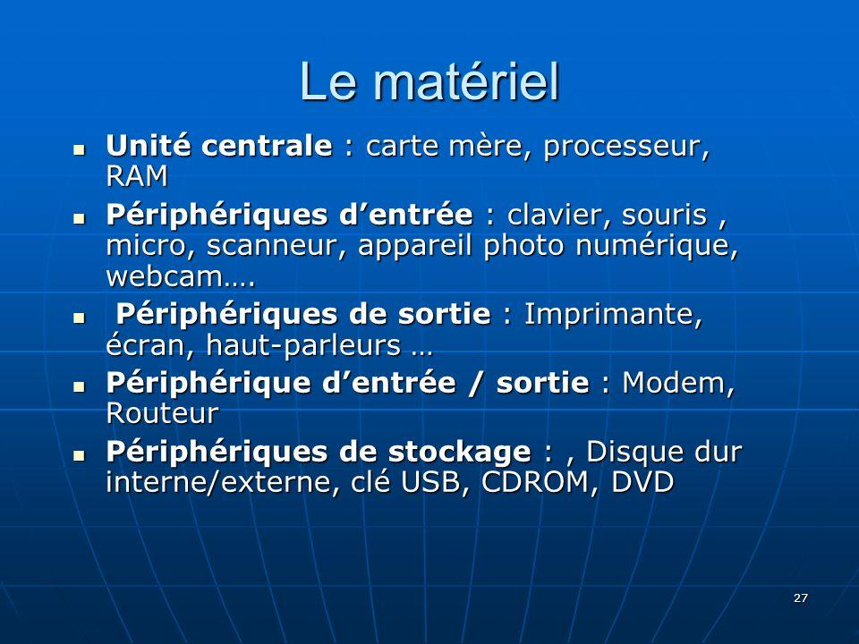 Le matériel Unité centrale : carte mère, processeur, RAM