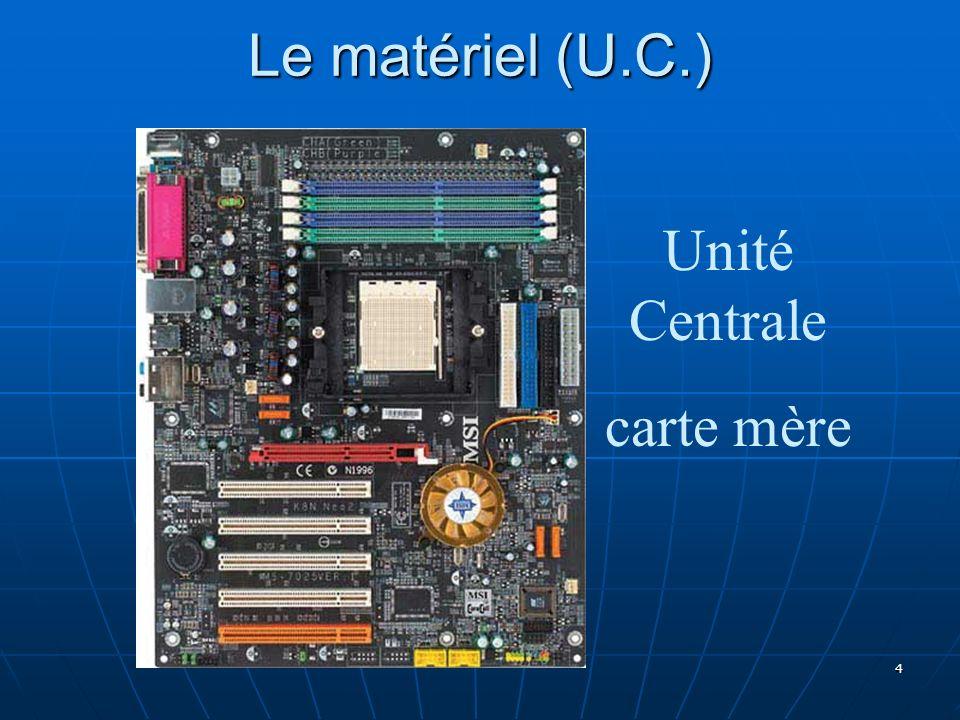Le matériel (U.C.) Unité Centrale carte mère