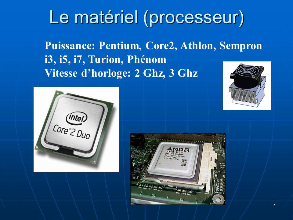 Le matériel (processeur)