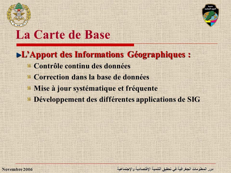 La Carte de Base L'Apport des Informations Géographiques :