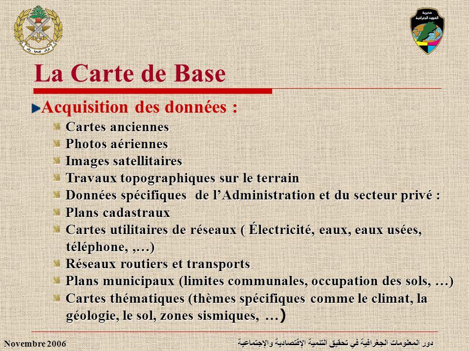 La Carte de Base Acquisition des données : Cartes anciennes