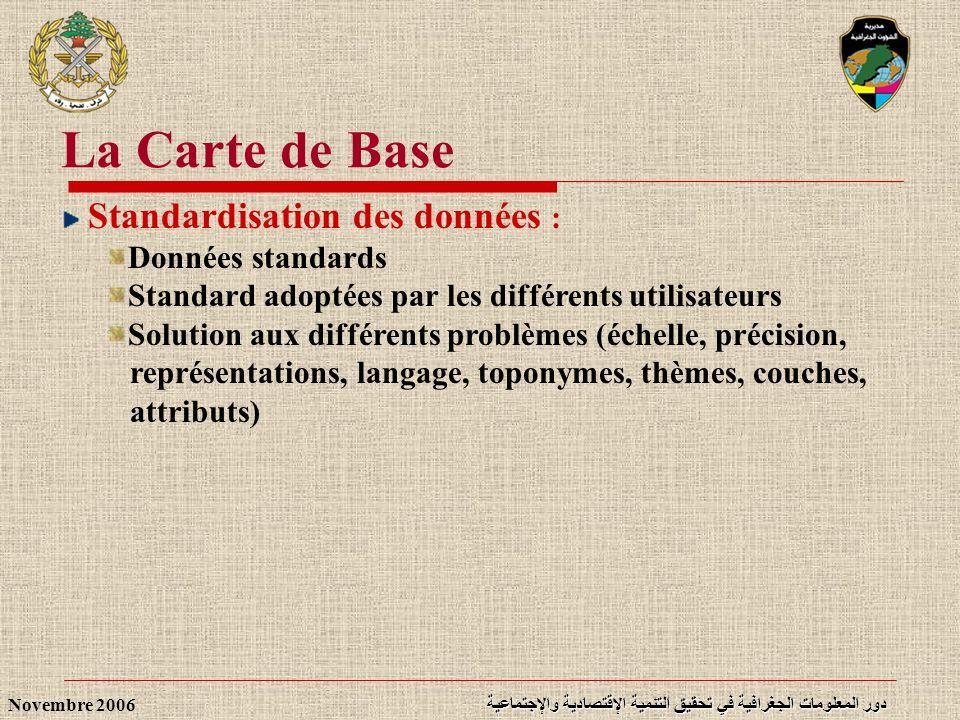 La Carte de Base Standardisation des données : Données standards