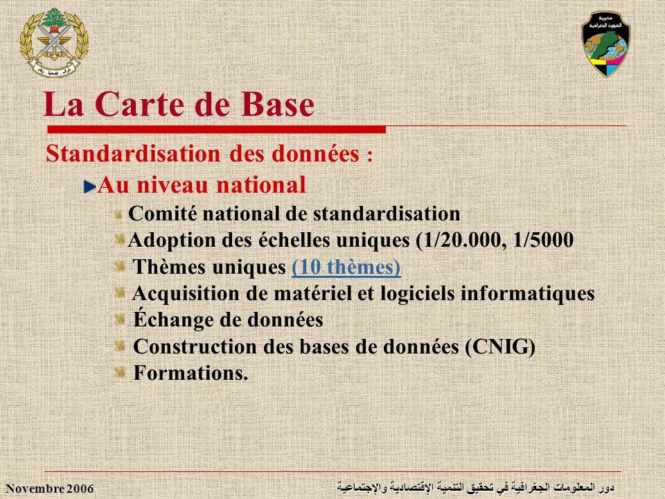 La Carte de Base Standardisation des données : Au niveau national