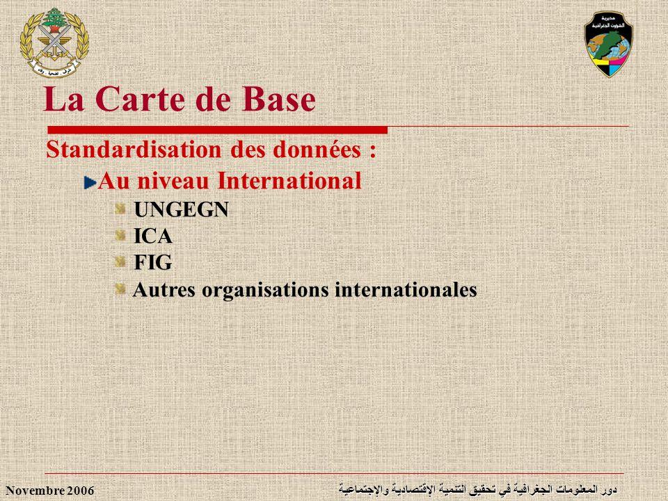 La Carte de Base Standardisation des données : Au niveau International