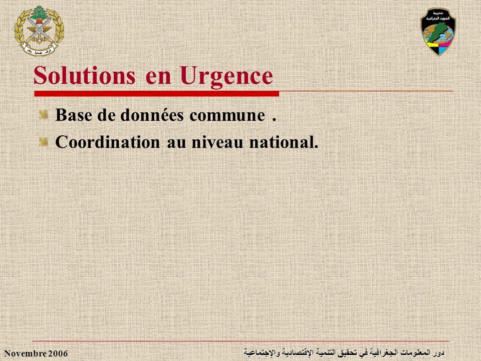 Solutions en Urgence Base de données commune .