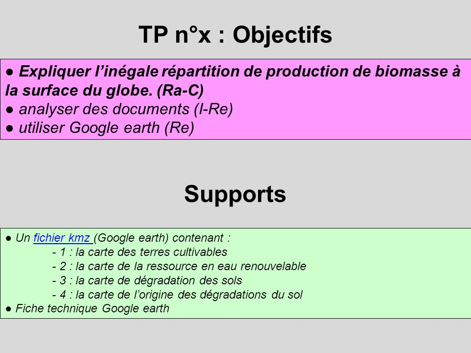 TP n°x : Objectifs Supports