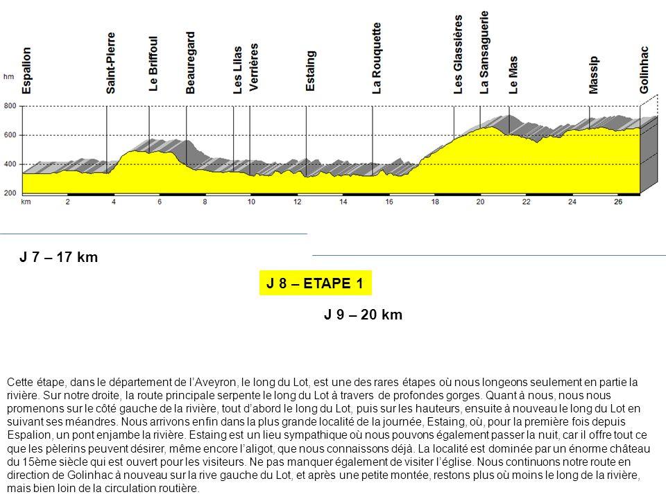 J 7 – 17 km J 8 – ETAPE 1. J 9 – 20 km.