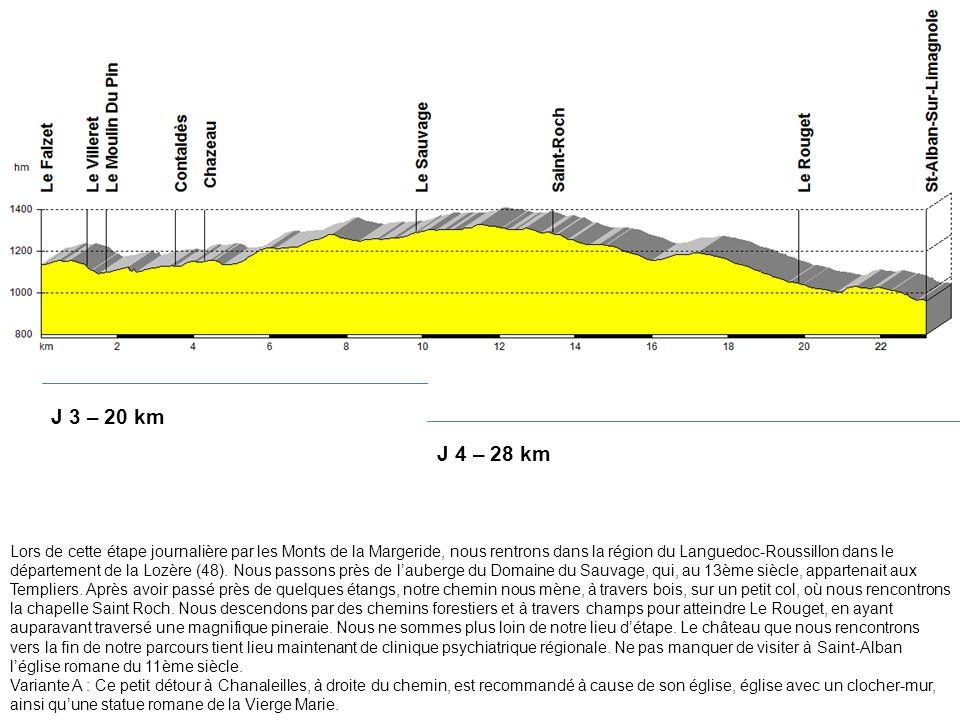 J 3 – 20 km J 4 – 28 km.
