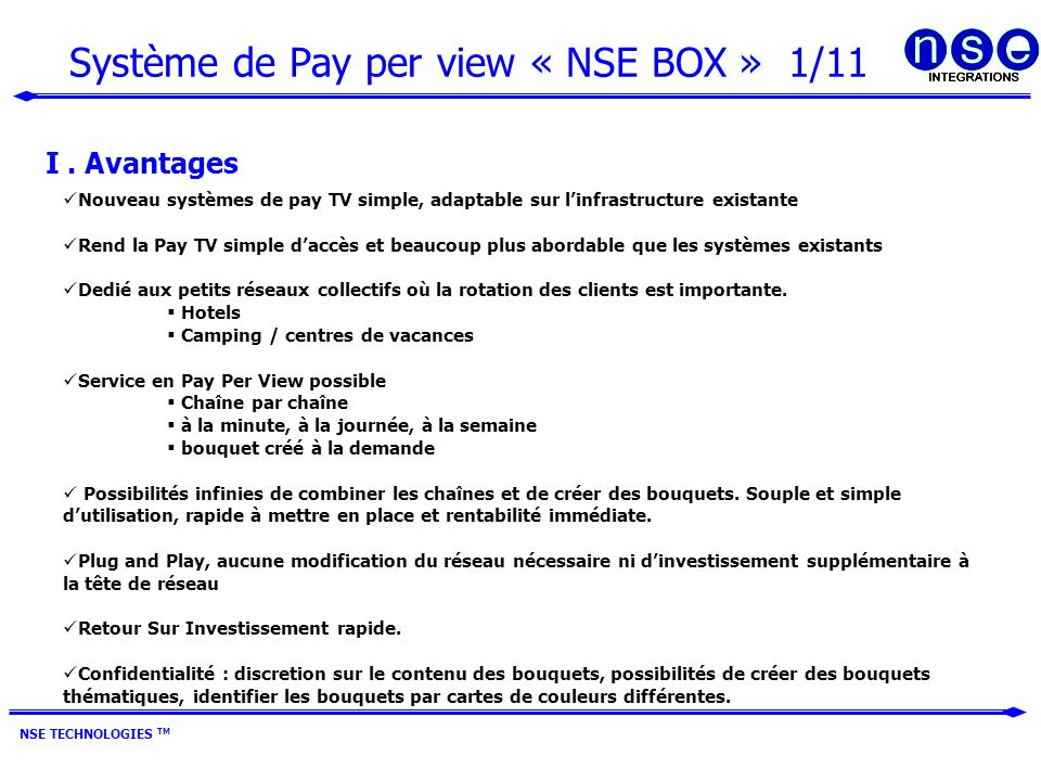 Système de Pay per view « NSE BOX » 1/11
