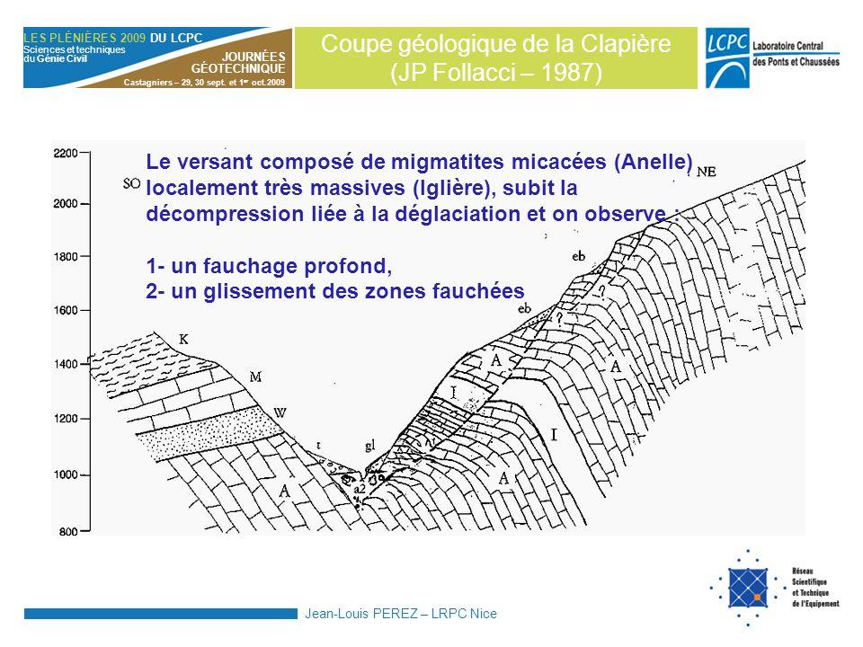 Coupe géologique de la Clapière (JP Follacci – 1987)