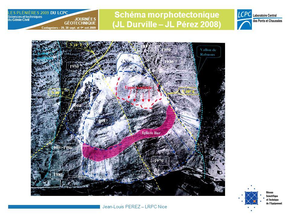 Schéma morphotectonique (JL Durville – JL Pérez 2008)