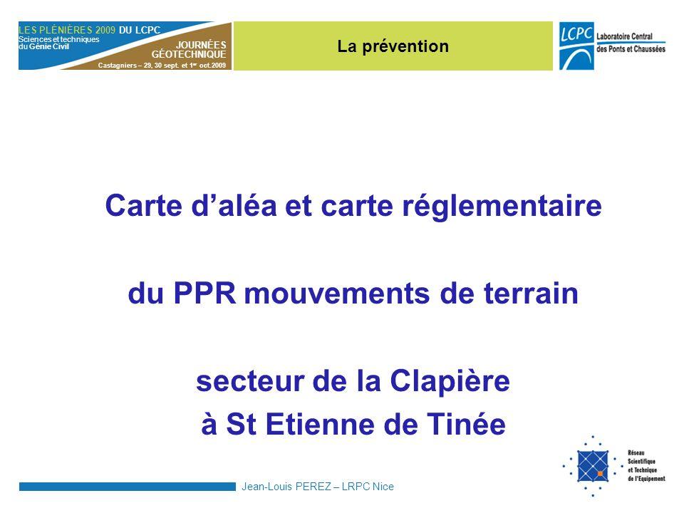 Carte d'aléa et carte réglementaire du PPR mouvements de terrain