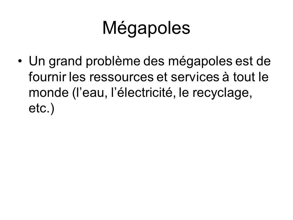 Mégapoles Un grand problème des mégapoles est de fournir les ressources et services à tout le monde (l'eau, l'électricité, le recyclage, etc.)