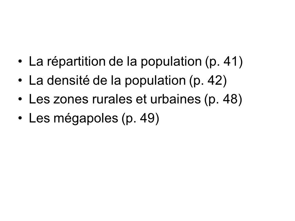 La répartition de la population (p. 41)
