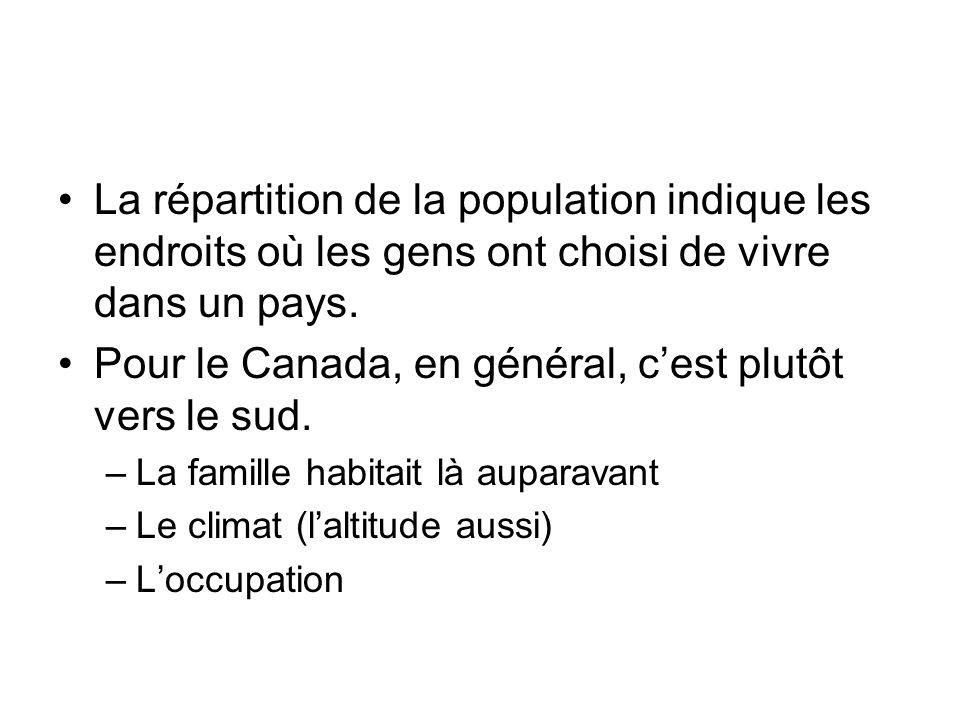 Pour le Canada, en général, c'est plutôt vers le sud.