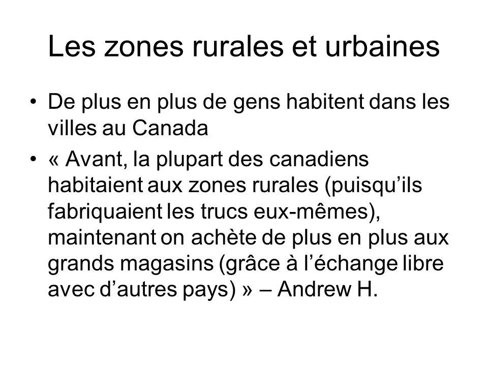 Les zones rurales et urbaines