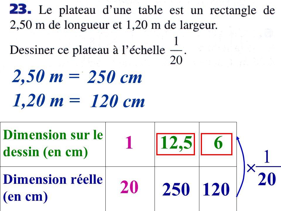 2,50 m = 250 cm. 1,20 m = 120 cm. Dimension sur le. dessin (en cm) 1. 12,5. 6. 1. 20.  Dimension réelle.