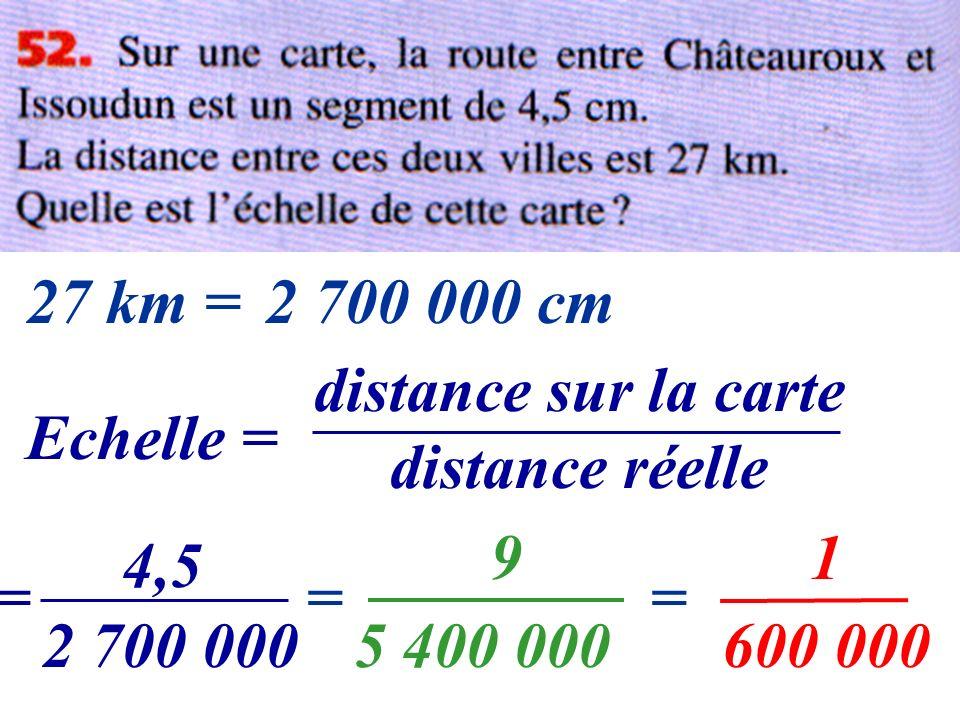 27 km = 2 700 000 cm. distance sur la carte. distance réelle. Echelle = 9. 1. 4,5. = = = 2 700 000.