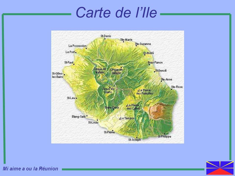Carte de l'Ile Mi aime a ou la Réunion