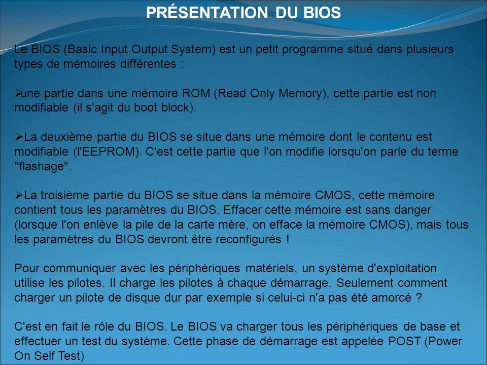 PRÉSENTATION DU BIOS Le BIOS (Basic Input Output System) est un petit programme situé dans plusieurs types de mémoires différentes :