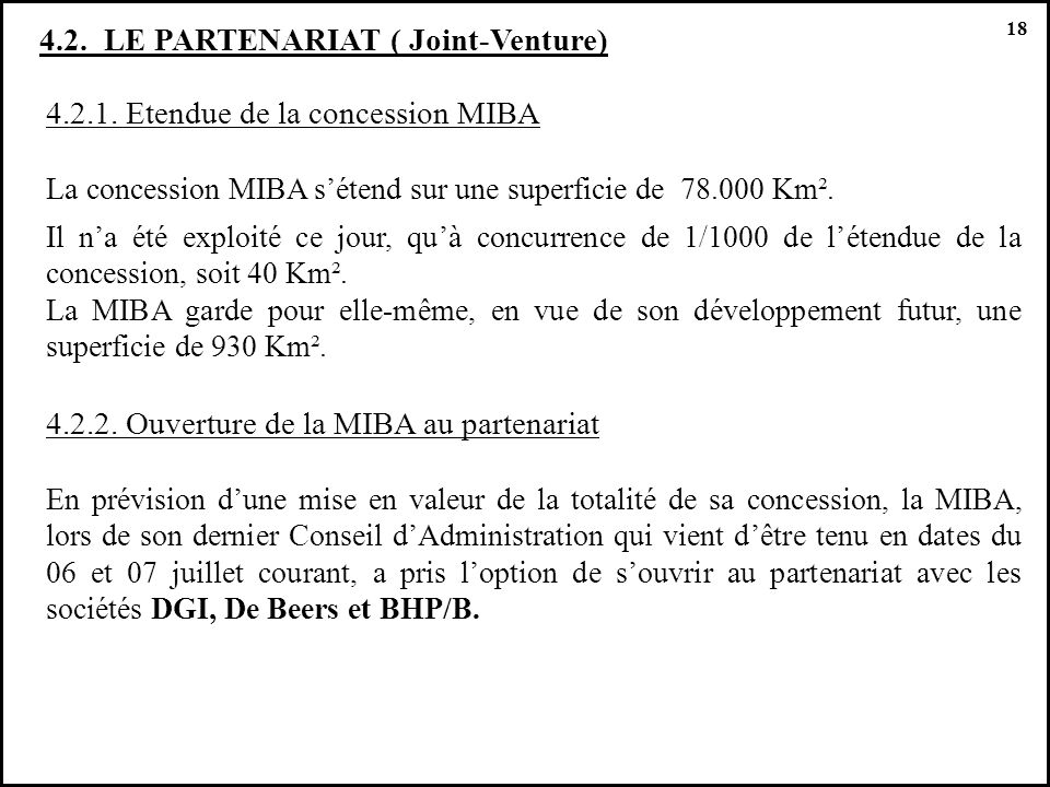 4.2. LE PARTENARIAT ( Joint-Venture)